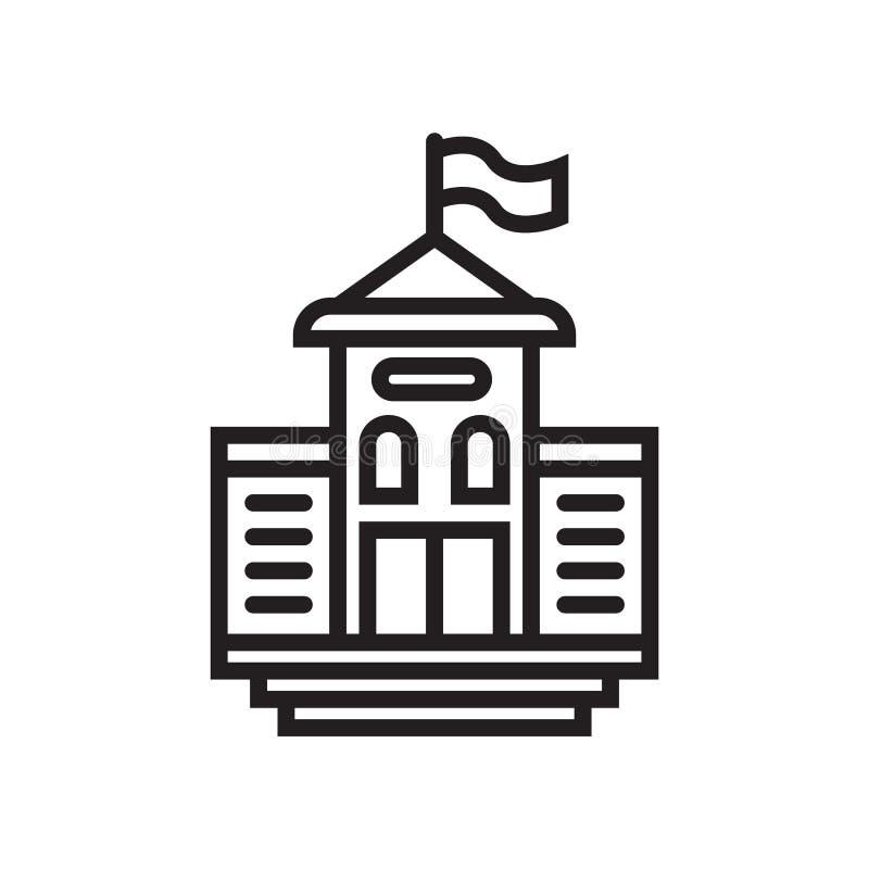 Het het vectordieteken en symbool van het middelbare schoolpictogram op witte achtergrond, het concept van het Middelbare schoole royalty-vrije illustratie