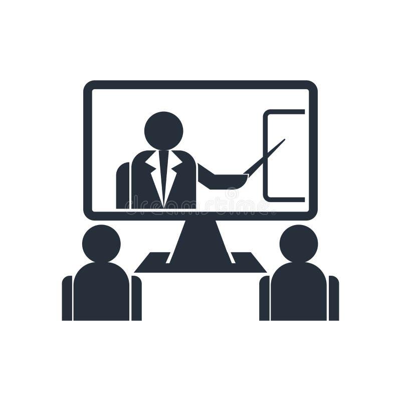 Het het vectordieteken en symbool van het onlinetrainingpictogram op witte achtergrond, het concept van het Onlinetrainingembleem stock illustratie