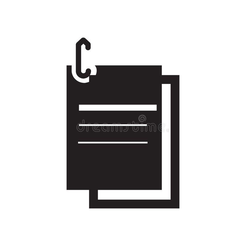 Het het vectordieteken en symbool van het paperclippictogram op witte backgro wordt geïsoleerd stock illustratie