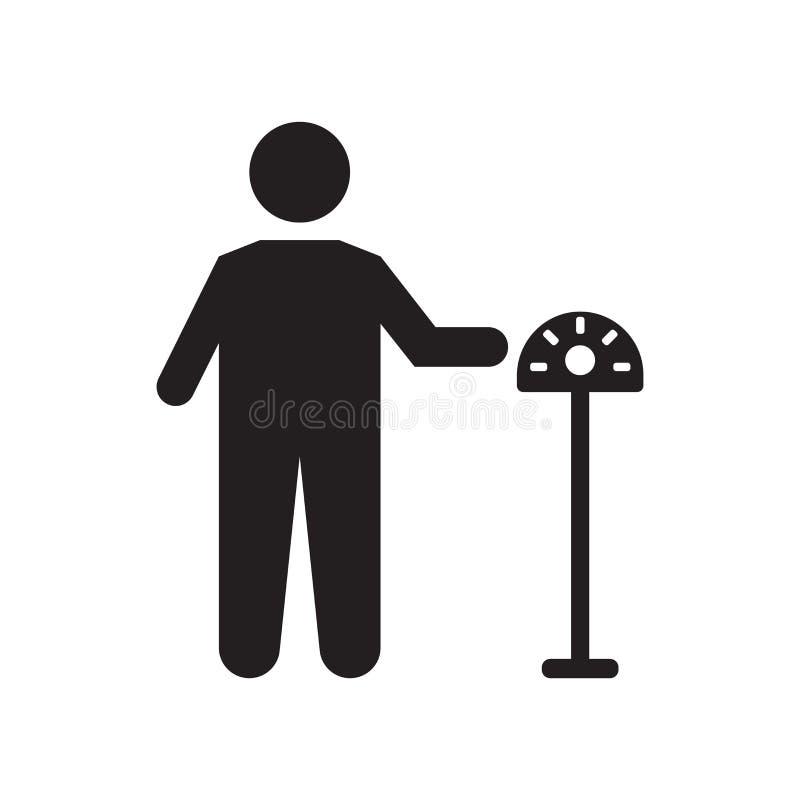 Het het vectordieteken en symbool van het parkeermeterpictogram op witte achtergrond, het concept van het Parkeermeterembleem wor vector illustratie
