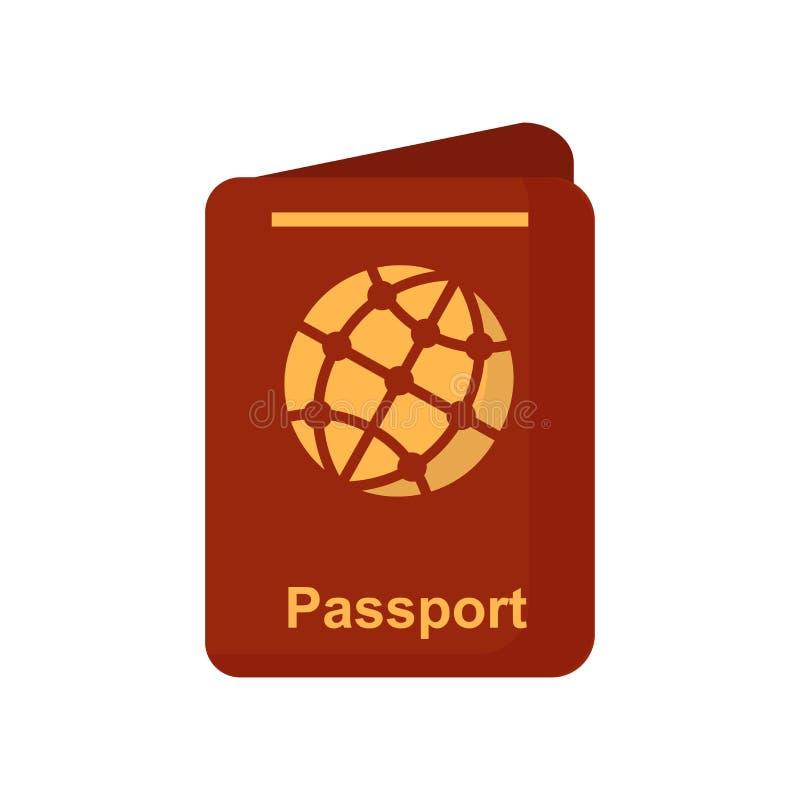 Het het vectordieteken en symbool van het paspoortpictogram op witte achtergrond, het concept van het Paspoortembleem wordt geïso stock illustratie