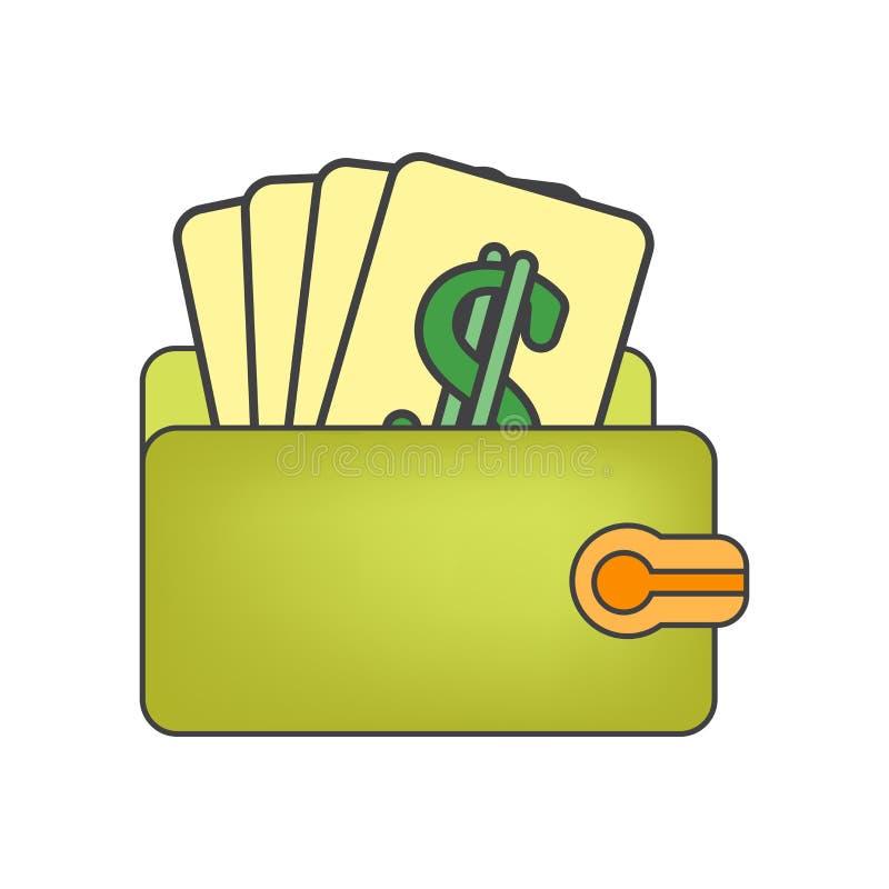 Het het vectordieteken en symbool van het portefeuillepictogram op witte achtergrond, het concept van het Portefeuilleembleem wor vector illustratie