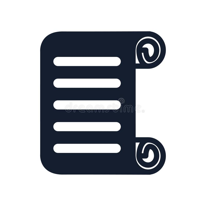 Het het vectordieteken en symbool van het rolpictogram op witte achtergrond, het concept van het Rolembleem wordt geïsoleerd stock illustratie