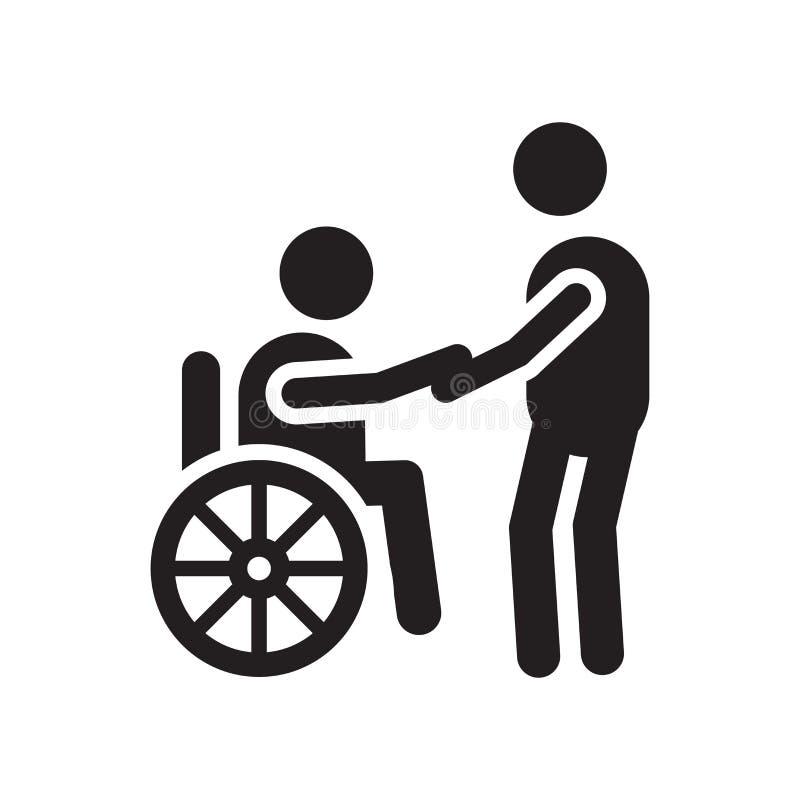 Het het vectordieteken en symbool van het rolstoelpictogram op witte achtergrond, het concept van het Rolstoelembleem wordt geïso royalty-vrije illustratie