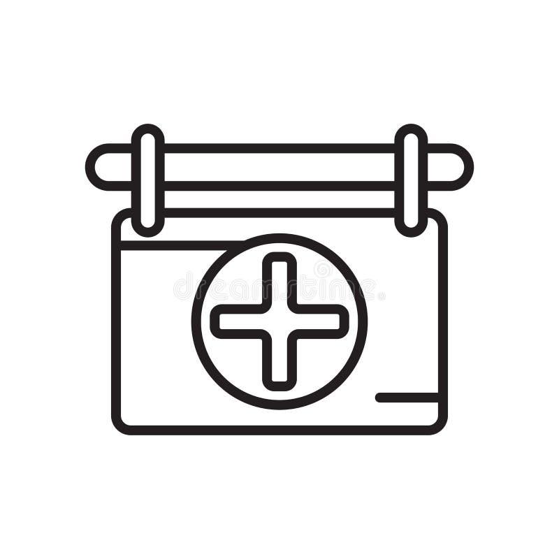 Het het vectordieteken en symbool van het rood kruispictogram op witte backgrou wordt geïsoleerd royalty-vrije illustratie