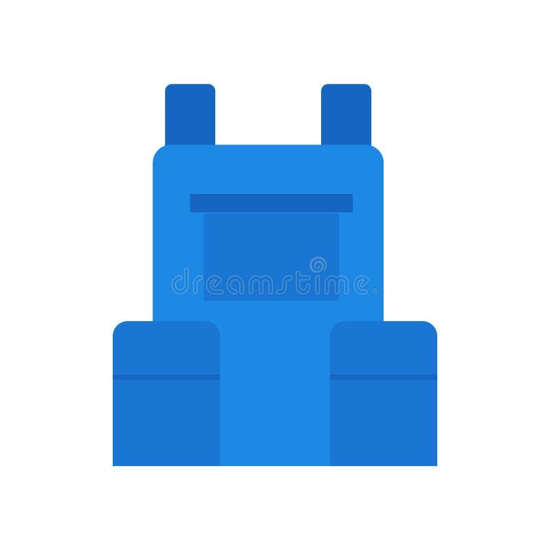 Het het vectordieteken en symbool van het rugzakpictogram op witte backgroun wordt geïsoleerd royalty-vrije illustratie