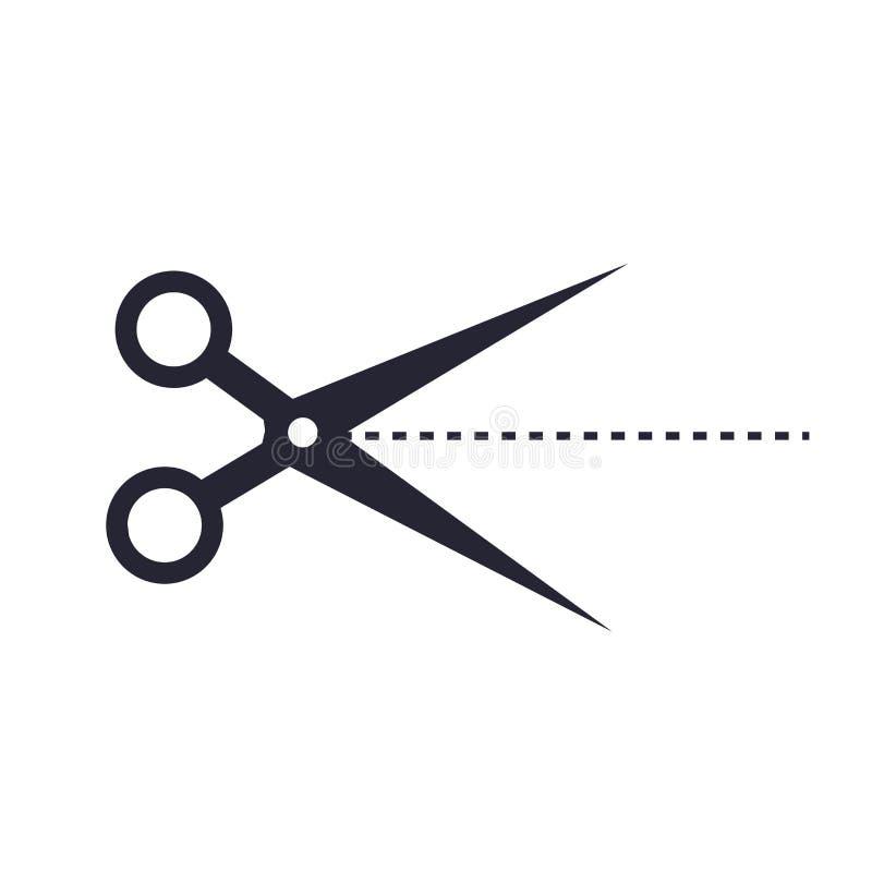 Het het vectordieteken en symbool van het schaarpictogram op witte achtergrond, het concept van het Schaarembleem wordt geïsoleer stock illustratie