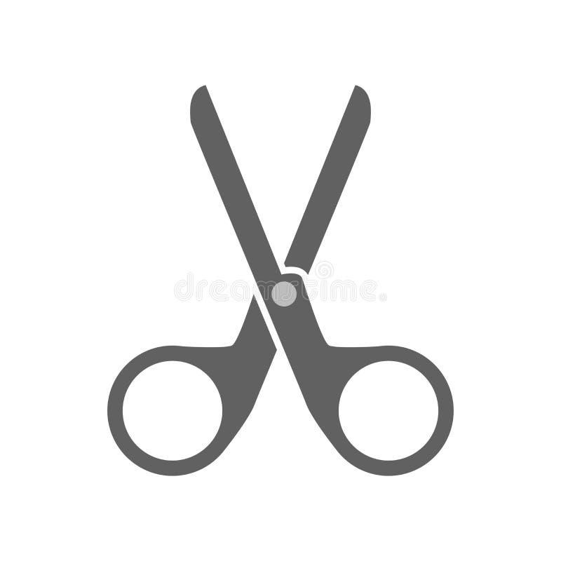 Het het vectordieteken en symbool van het schaarpictogram op witte achtergrond, het concept van het Schaarembleem wordt geïsoleer vector illustratie