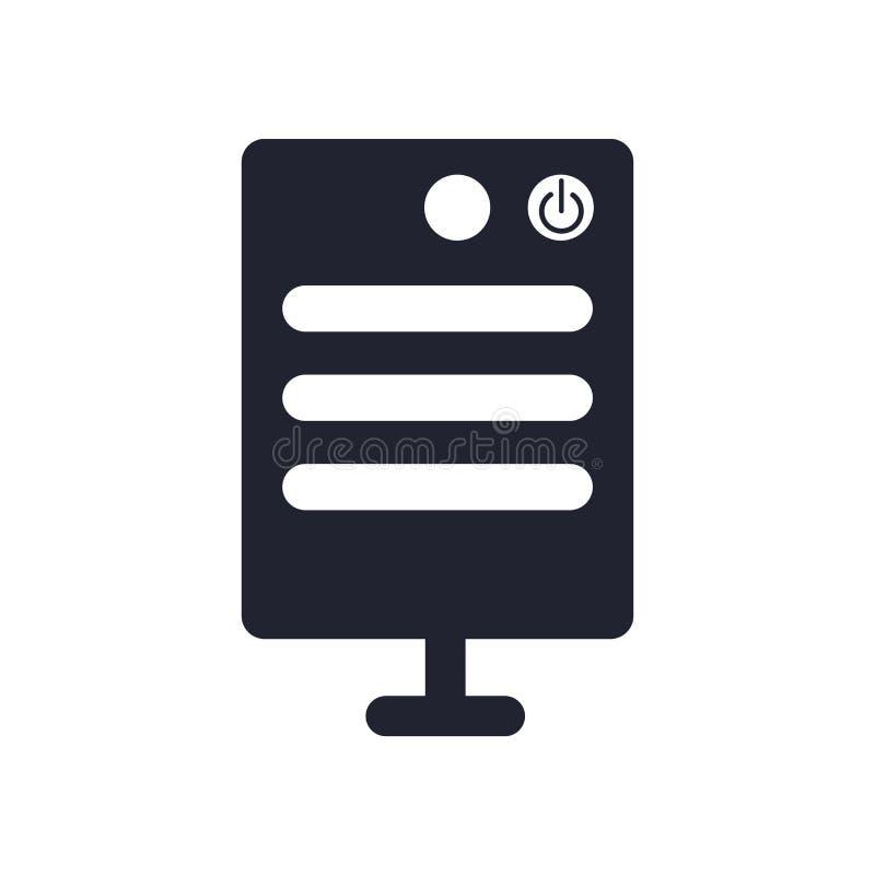 Het het vectordieteken en symbool van het serverpictogram op witte achtergrond, het concept van het Serverembleem wordt geïsoleer royalty-vrije illustratie