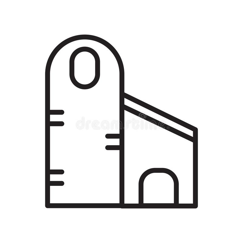 Het het vectordieteken en symbool van het silopictogram op witte achtergrond, het concept van het Siloembleem, overzichtsknop, li stock illustratie