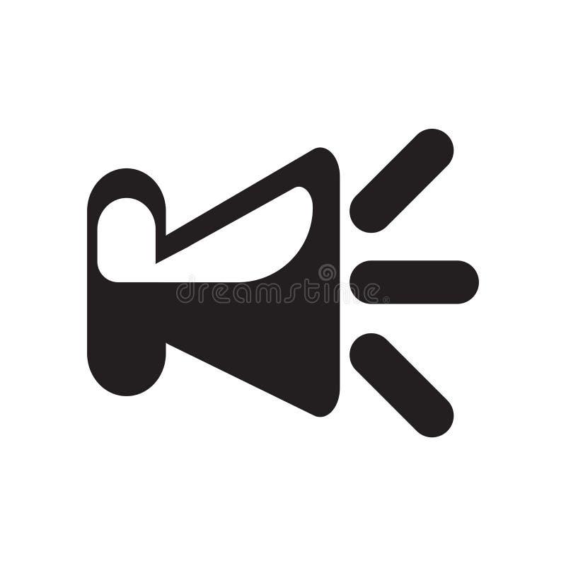 Het het vectordieteken en symbool van het sprekerspictogram op witte achtergrond, het concept van het Sprekersembleem wordt geïso stock illustratie