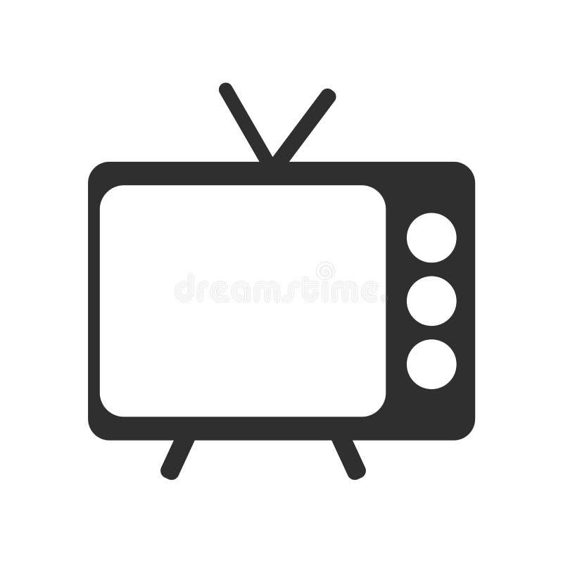 Het het vectordieteken en symbool van het televisiepictogram op witte achtergrond, het concept van het Televisieembleem wordt geï stock illustratie
