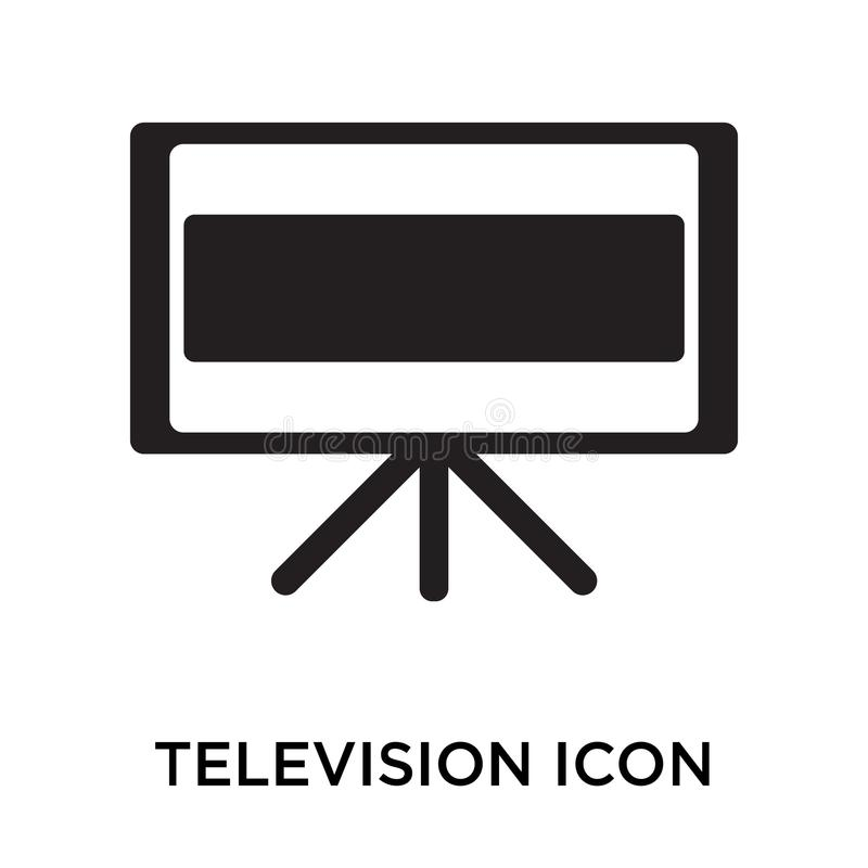 Het het vectordieteken en symbool van het televisiepictogram op witte backgro wordt geïsoleerd stock illustratie
