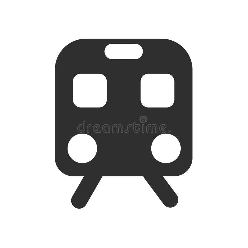 Het het vectordieteken en symbool van het treinpictogram op witte achtergrond, het concept van het Treinembleem wordt geïsoleerd stock illustratie
