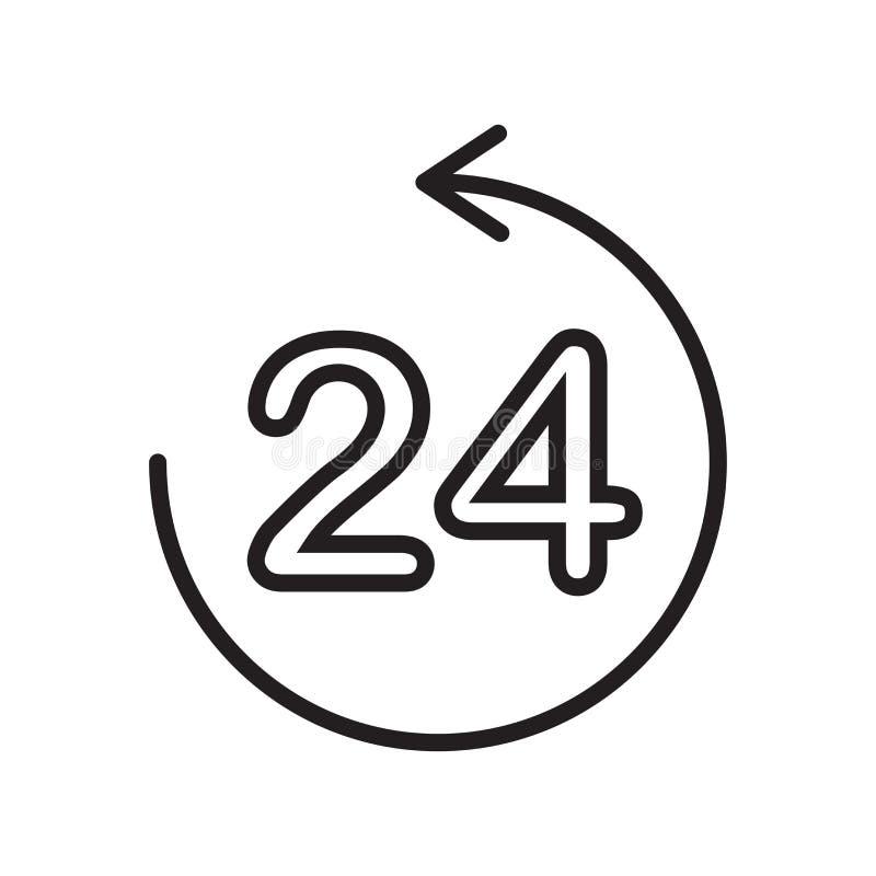 het het vectordieteken en symbool van het 24 urenpictogram op witte achtergrond, het concept van het 24 urenembleem, overzichtskn stock illustratie