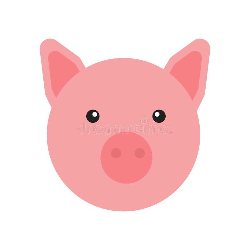 Het het vectordieteken en symbool van het varkenspictogram op witte achtergrond, het concept van het Varkensembleem wordt geïsole stock illustratie