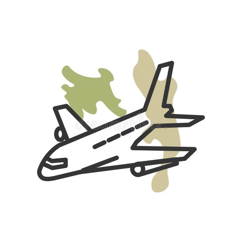 Het het vectordieteken en symbool van het vliegtuigpictogram op witte achtergrond, het concept van het Vliegtuigembleem wordt geï stock illustratie
