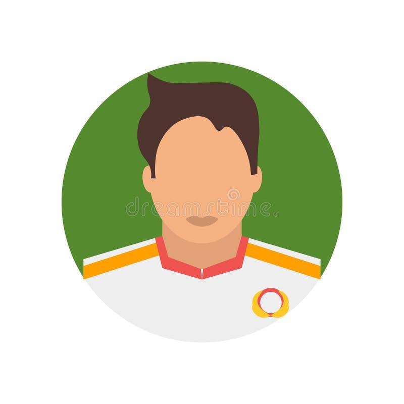 Het het vectordieteken en symbool van het voetballerpictogram op witte achtergrond, het concept van het Voetballerembleem wordt g royalty-vrije illustratie