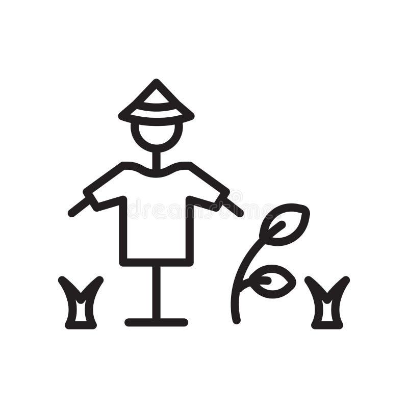 Het het vectordieteken en symbool van het vogelverschrikkerpictogram op witte achtergrond, het concept van het Vogelverschrikkere stock illustratie