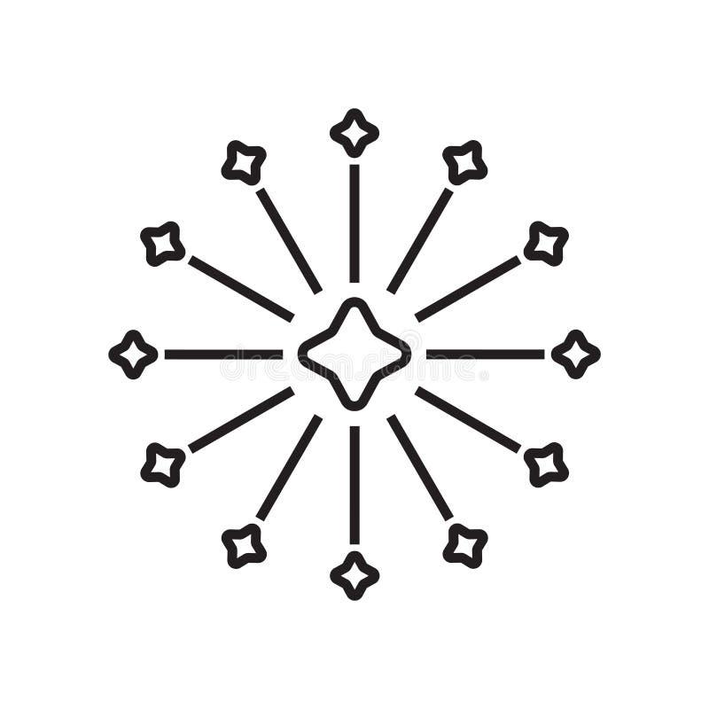 Het het vectordieteken en symbool van het vuurwerkpictogram op witte backgrou wordt geïsoleerd royalty-vrije illustratie
