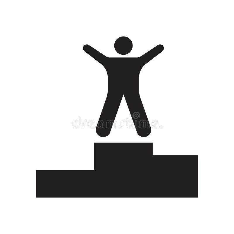 Het het vectordieteken en symbool van het winnaarpictogram op witte achtergrond, het concept van het Winnaarembleem wordt geïsole stock illustratie