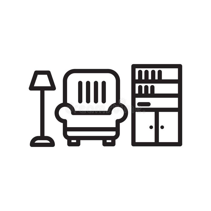 Het het vectordieteken en symbool van het woonkamerpictogram op witte achtergrond, het concept van het Woonkamerembleem wordt geï stock illustratie