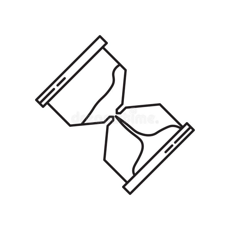 Het het vectordieteken en symbool van het zandloperpictogram op witte achtergrond, het concept van het Zandloperembleem wordt geï vector illustratie