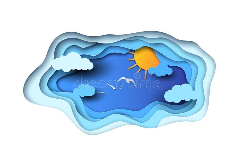 Het vectordocument sneed stijl blauwe hemel met witte wolken, oranje zon en vliegende witte vogels Vector gelaagde document stijl stock afbeelding