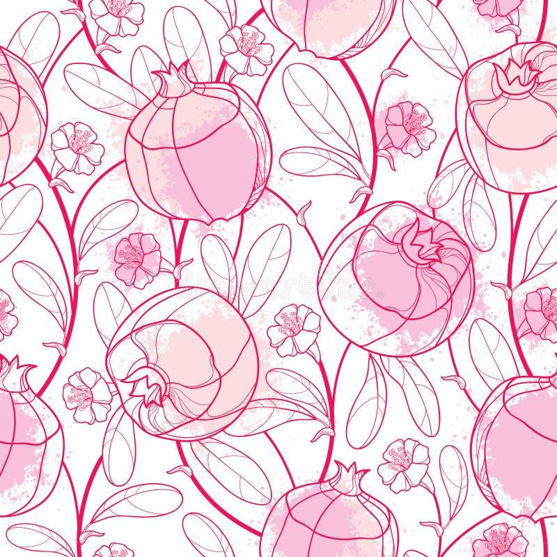 Het vectorelegantie naadloze patroon met het fruit van de overzichtsgranaatappel, het overladen blad, de bloem en de vlekken in p vector illustratie