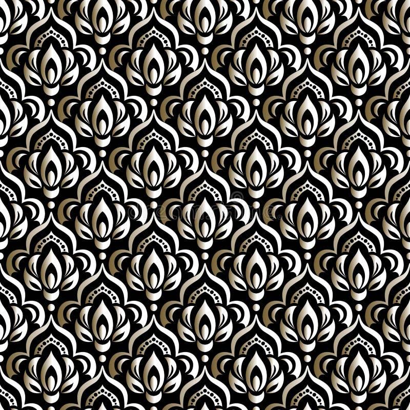 Het vectorelement van het damast naadloze patroon Indi?r, Arabische Islam, stock illustratie