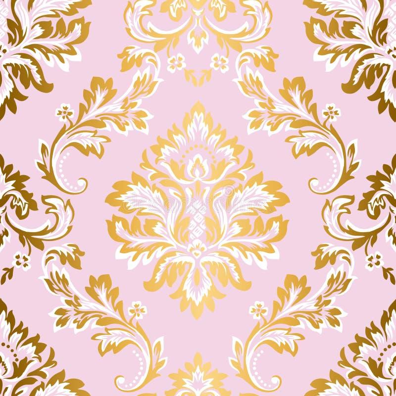 Het vectorelement van het damast naadloze patroon Klassiek luxe Barok ornament, Koninklijke Victoriaanse naadloze textuur voor Be vector illustratie