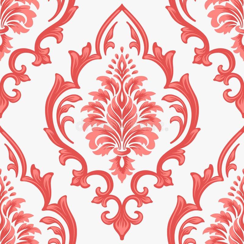 Het vectorelement van het damast naadloze patroon Het klassieke ornament van het luxe ouderwetse damast, koninklijke victorian na vector illustratie