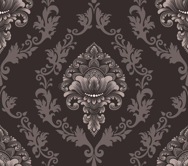 Het vectorelement van het damast naadloze patroon Het klassieke ornament van het luxe ouderwetse damast, koninklijke victorian na royalty-vrije illustratie