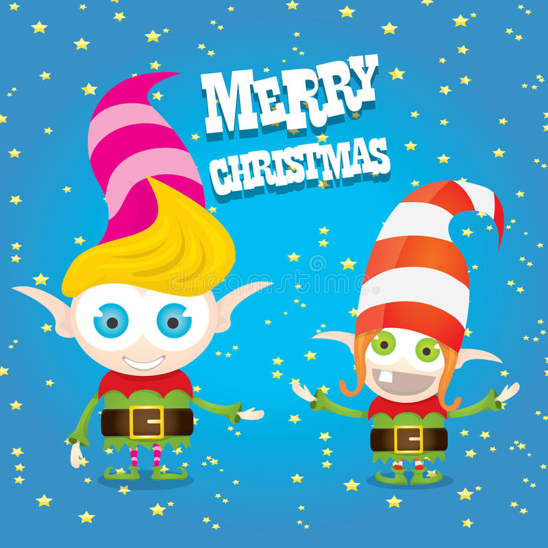 Het vectorelf van beeldverhaal leuke gelukkige Kerstmis royalty-vrije illustratie