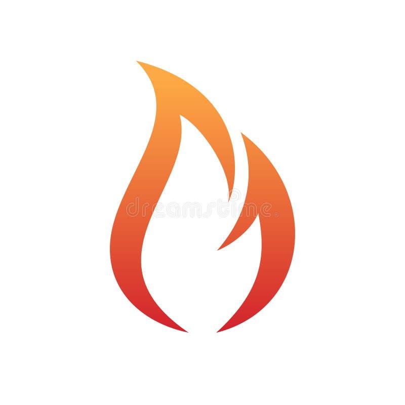 Het vectorembleem die van de brandvlam met een oranjerode gradiënt in minimalistisch en eenvoudig symbool opvlammen royalty-vrije illustratie