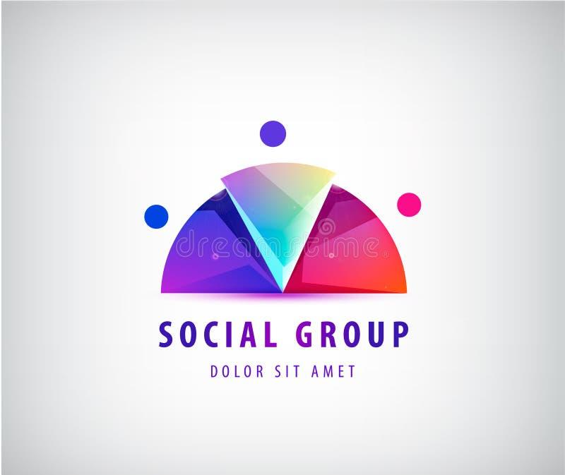 Het vectorembleem en het pictogram van de mensen sociale verhouding 3 gestileerde persoon gebruik als studio, zaken, familie, ven vector illustratie