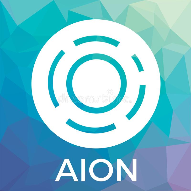 Het vectorembleem van AION De derde-generatie blockchain netwerk en crypto munt vector illustratie