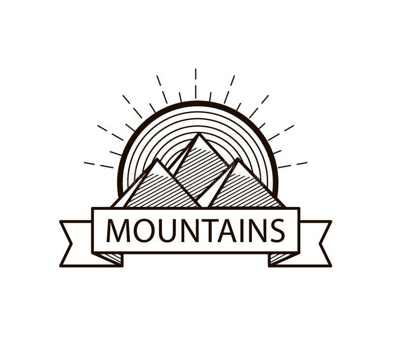 Het vectorembleem van de bergenlijn hipster, pictogram, kenteken stock illustratie