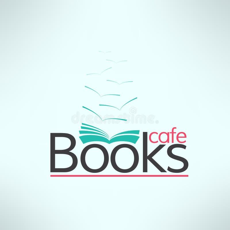 Het vectorembleem van de boekenkoffie in modern vlak ontwerp Boek vector illustratie