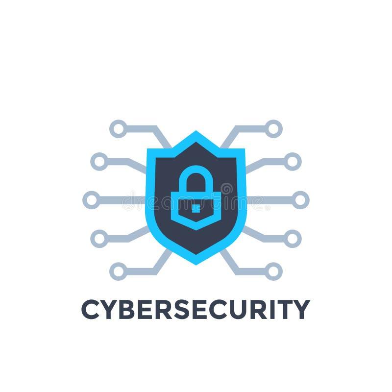Het vectorembleem van de Cyberveiligheid met schild royalty-vrije illustratie
