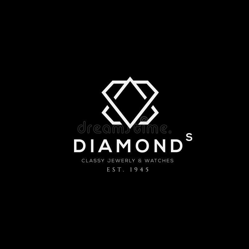 Het vectorembleem van de diamantring Het embleem van de juwelenwinkel Het teken van het maniermerk stock illustratie