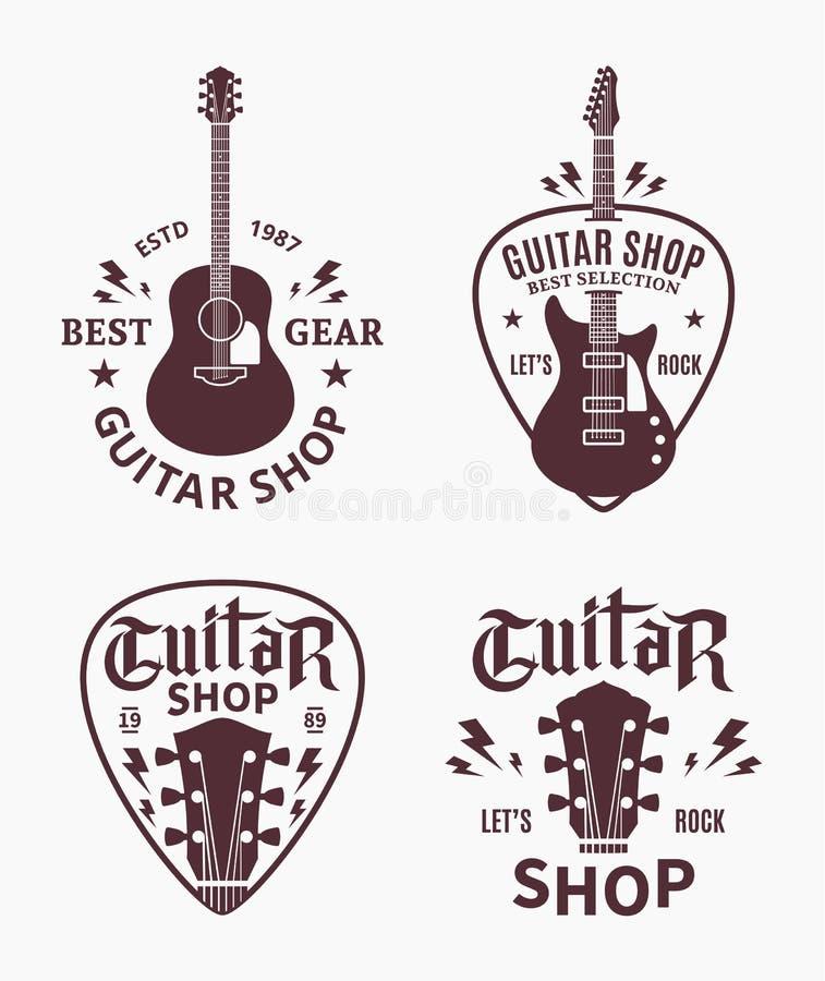Het vectorembleem van de gitaarwinkel royalty-vrije illustratie