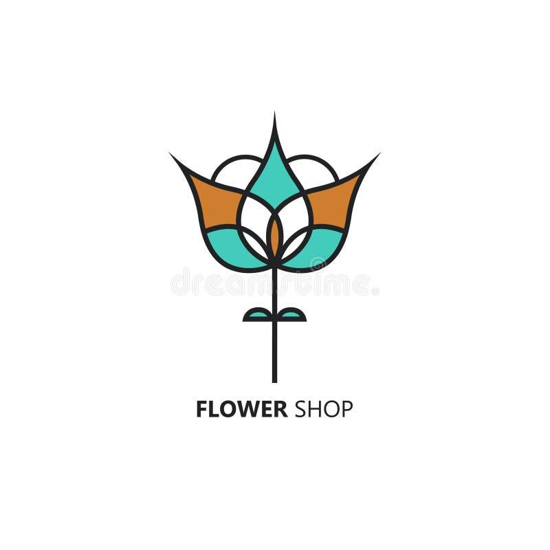 Het vectorembleem van de lijnstijl met abstracte tulp Perfect embleem voor bloemwinkel, bloemlevering of schoonheidssalon Brandme stock illustratie