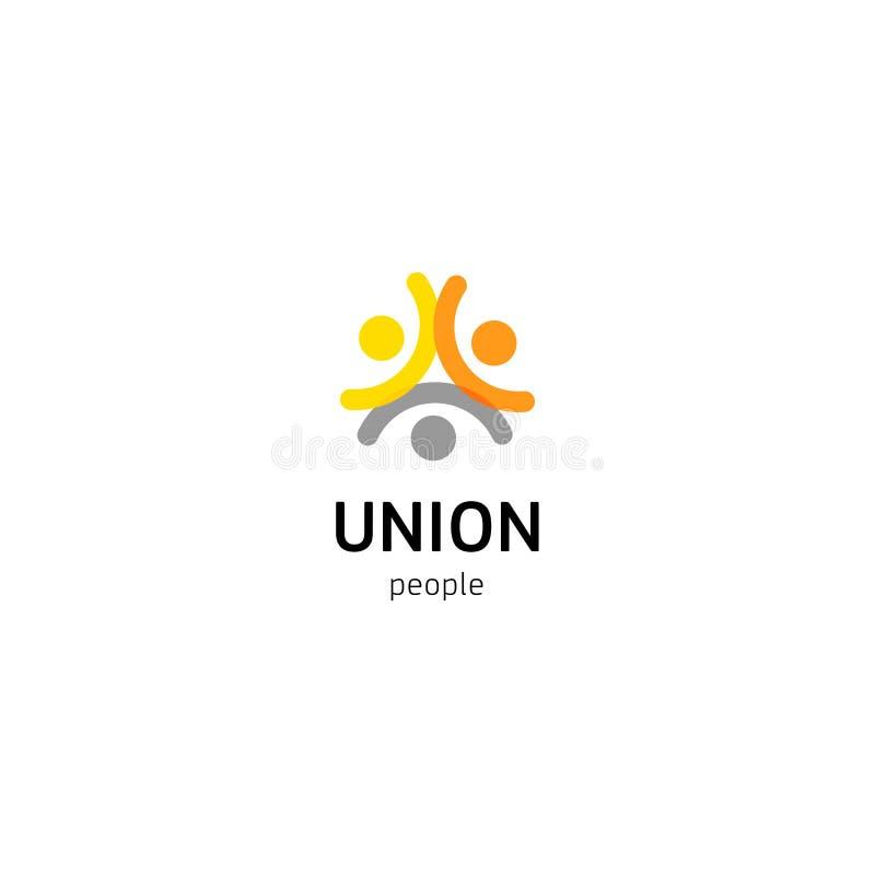 Het vectorembleem van de mensenunie Gewoon volk logotype geïsoleerd malplaatje Abstract symbool van verbonden mensen royalty-vrije illustratie