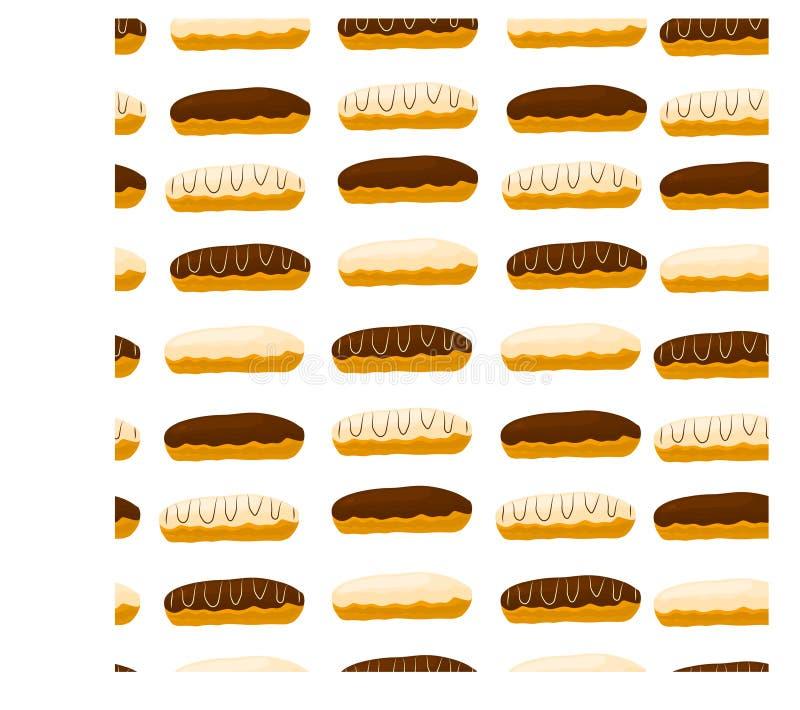 Het vectorembleem van de pictogramillustratie voor cake Franse eclair vector illustratie