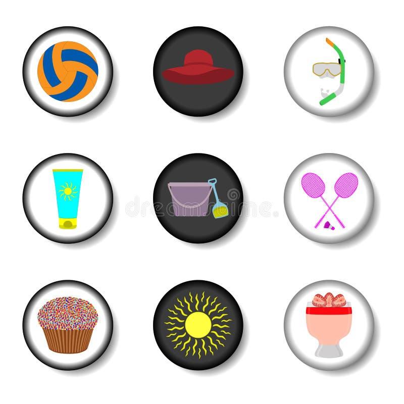 Het vectorembleem van de pictogramillustratie voor vastgestelde symbolen op vlak gekleurde bu royalty-vrije illustratie