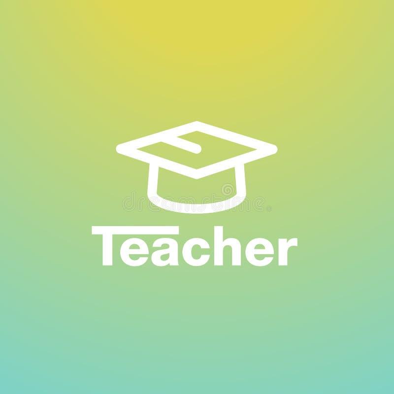het vectorembleem van de studentenhoed Het bestuderen logotype met leraar het schrijven Onderwijspictogram stock illustratie