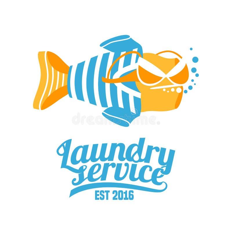 Het vectorembleem van de wasserijdienst, origineel ontwerp stock illustratie