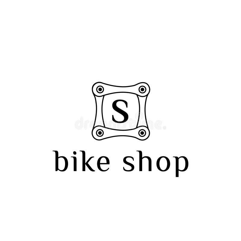 Het vectorembleem van het fietsdeel voor de brief S van de fietswinkel stock illustratie