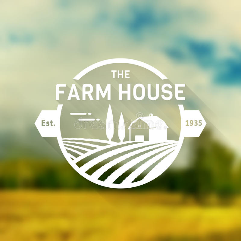 Het vectorembleem van het landbouwbedrijfhuis stock illustratie